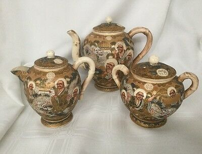 Japanese Satsuma Moriage Tea Pot, Creamer, Sugar Set Gold Gilt              #746