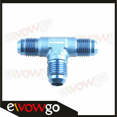 6AN AN6 AN-6 Male Flare Union Tee T-piece Fitting Adapter Blue
