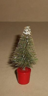 Vintage Bottle Brush Tree In Wood Pot Ca 1940's 3 1/2 Inches