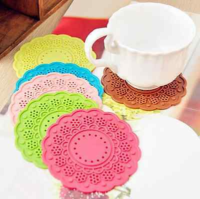 NEW Silicon Lace Doily Drink Coaster / Table Protectors ( Set of 6 )