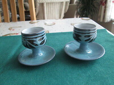 Wellhouse Pottery Set Of 2 Footed Egg Cups
