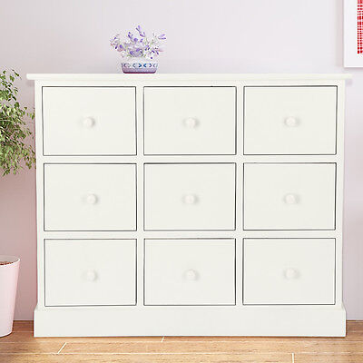 White Chest of Drawers 9 Bedroom Furniture Unit Wooden Bedside Storage Cabinet