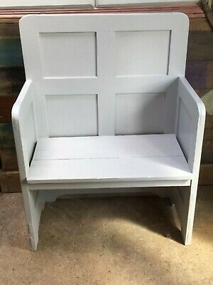 Interesting 2 Seater Painted Panelled Pine Bench Settle