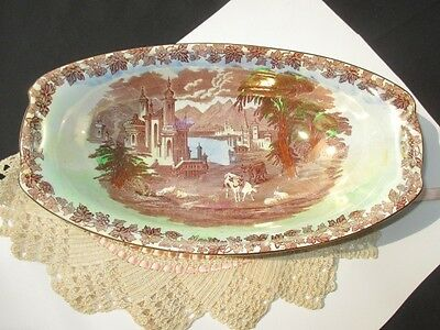 Boat  Bowl Iridescent Luster On Porcelain Maling Newcastle On Tyne Cows Sheep