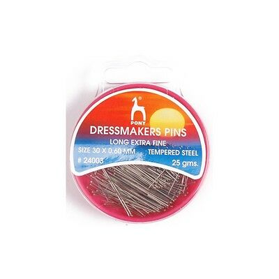 Pony Long Extra Fine Dressmakers Pins 30 x 0.60mm