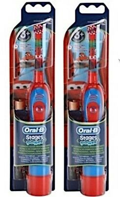 Braun Oral-B Advance Power Kids Boys Disney Cars Plane Battery Toothbrush 2 Pack