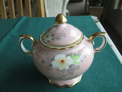 Vintage Crown Staffordshire Hand Painted  Floral Lidded Sugar Pot