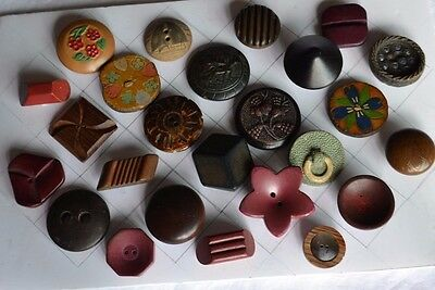Vintage Sewing Buttons 25 Wood Wooden Greyhound Carved Painted sailboat Picture