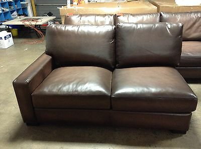 Pottery Barn Turner Leather Sofa Sectional 3 Pc Burnt