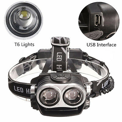 10000Lm Cree 2x T6 LED Rechargeable 18650 Headlamp Headlight Head Torch USB