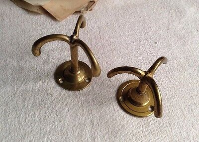Triple Hook Brass Ceiling Fittings Vintage 3 Arms Ceiling Rose Rare 2pc