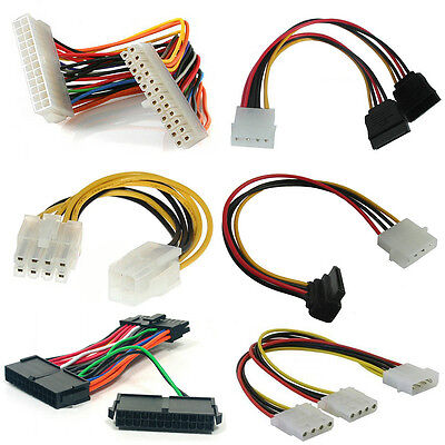PSU Cables, Adaptors, Connectors, Extensions. 20/24pin, Molex, SATA, PCI-E, P4.