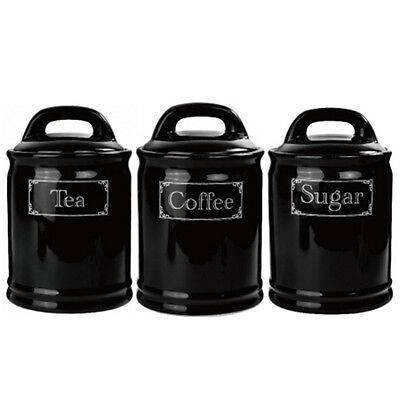 3Pc Tea Coffee Sugar Kitchen Storage Canisters Jar Container Black Set Canister