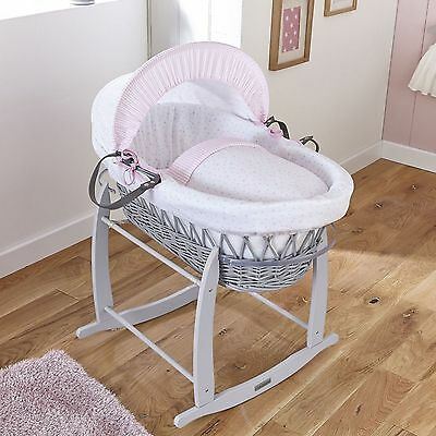 New Clair De Lune Pink Stars & Stripes Padded Grey Wicker Baby Moses Basket