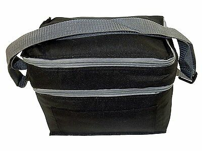 "Insulated Black Lunch Box Tote Two Compartments 9""W x 7""H x 6""D"