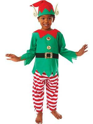 Child Elf Costume Boys Girls Christmas Fancy Dress Santa's Helper New Age 3-5
