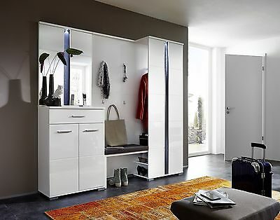 garderobe monaco set spiegel bank paneel kiefer massiv wei white wash landhaus eur 339 95. Black Bedroom Furniture Sets. Home Design Ideas