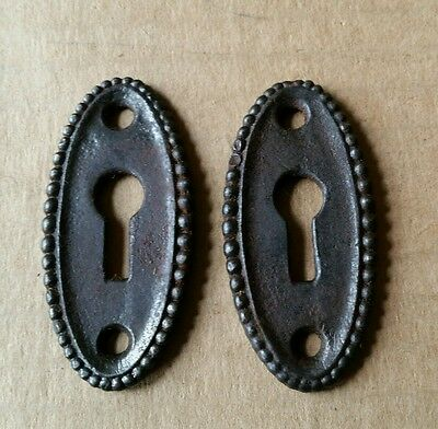 Pair Decorative Vintage Victorian Oval Key Hole Covers  Cast Iron  (#146)