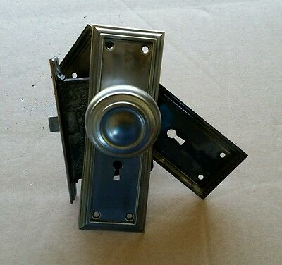 Vintage Steel Door Knob Set Lock Box  Backplates Spindle ( #14A)