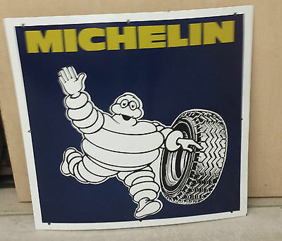"Large VINTAGE ORIGINAL Michelin Man PORCELAIN sign  26"" by 26"" Michelin Tires"