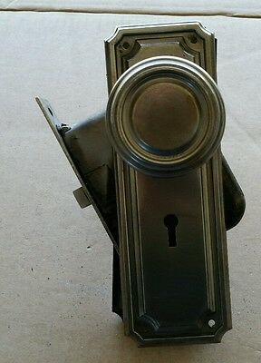 Vintage Steel Door Knob Set Lock Box Decorative  Backplates Spindle ( #11A)