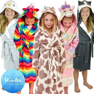 Girls Unicorn Bathrobe Fleece Dressing Gown Hooded Cover Up 4 Pyjamas Nightdress