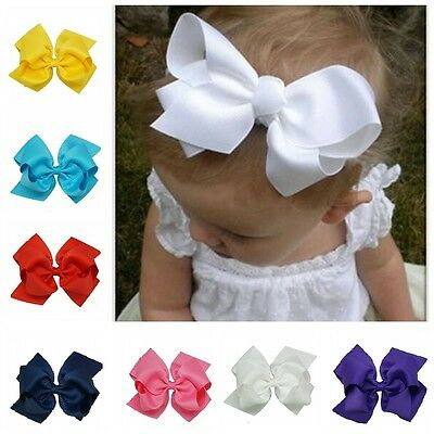 6 Inch Baby Bows Boutique Hair Clip Alligator Clips Grosgrain Ribbon Bow Girl Uk