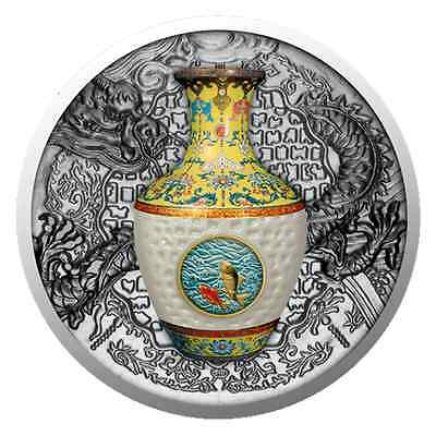 Niue 2016 Qing Dynasty Porcelain Vase 1 Oz Pure Silver Coin Qianlong Chinese