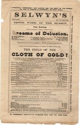 Selwyn's Theatre Playbill Dreams of Delusion and Cloth of Gold 1867-70