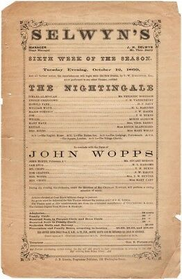 Selwyn's Theatre Playbill, The Nightingale & John Wopps, October 12 1869