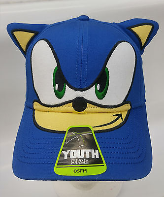 Sonic Big Face with Ears Youth Cap Hat Adjustable Halloween Costumes NEW OSFM