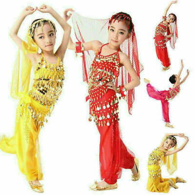 Girls Kids Belly Dance Costume Outfit Top Pants Bollywood Halloween Indian Dress