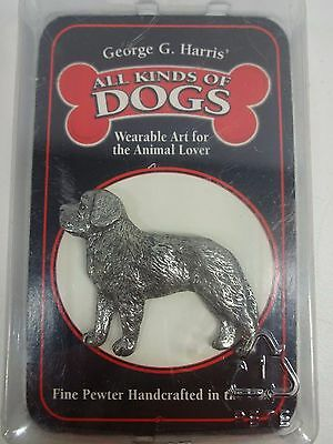 SIGNED GG Harris Saint Bernard Dog Pin Brooch PEWTER Jewelry Collectible ST.