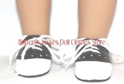 Black & White Saddle Oxford Shoes 18 in Doll Clothes Fits American Girl
