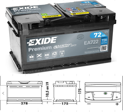 1x Exide Premium 72Ah 720CCA 12v Type 096 Car Battery 4 Year Warranty - EA722