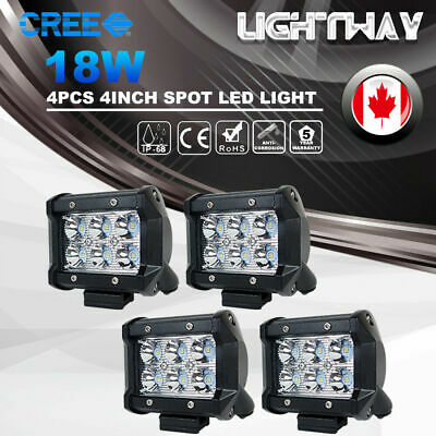 2x 7inch 18W CREE LED Work Light Bar Flush Mount Flood Driving Lamp Offroad 4WD