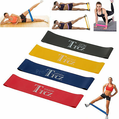 Heavy Duty Resistance Band Loop Power GYM Fitness Exercise YOGA WORKOUT Set Of 4