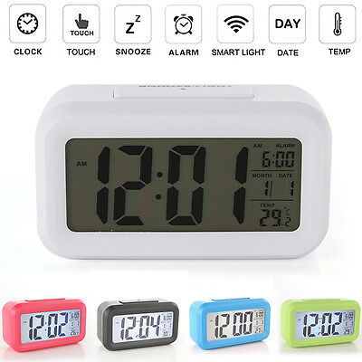 Big-LCD Digital Snooze LED Alarm Desk Clock Backlight Time Calendar Thermometer