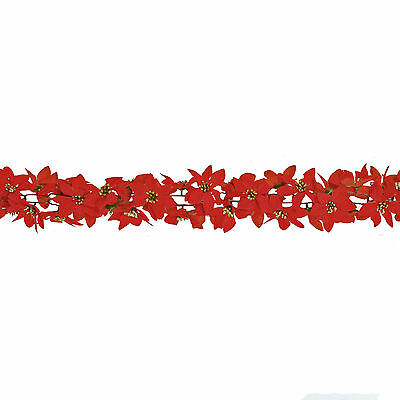 Christmas 6ft Garland Red Poinsettia Flowers with Glitter Gold Centres