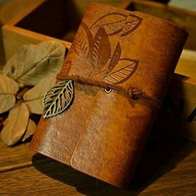 Elf forest notebook leaf pattern antique notebook leather diary from JAPAN