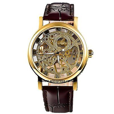 skeleton Vintage gorgeous Gold carving pair hand-winding watch from JAPAN