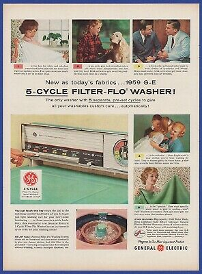Vintage 1958 GENERAL ELECTRIC GE Automatic 5 Cycle Filter-Flo Washer Print Ad