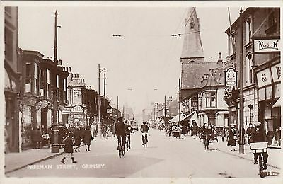 Freeman Street, Grimsby, Lincs, Real photo, old postcard, unposted