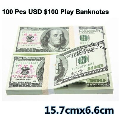 100 Pcs New Version USD $100 Play Money Game Props Training Banknote Paper Money