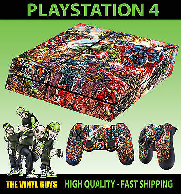 PS4 Skin Marvel DC Superhero Comic Group Sticker + Controller Decals LAY FLAT