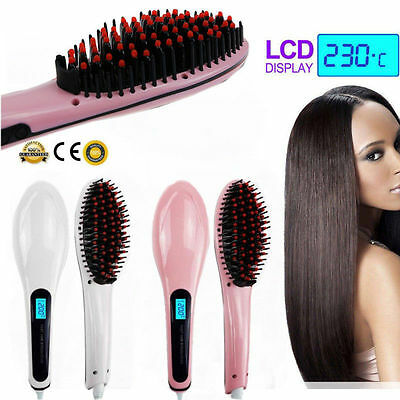 Pro Automatic LCD Temperature Control Paddle Brush Hair Straightener Comb New