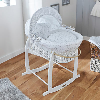 New Clair De Lune Grey Stars & Stripes Padded White Wicker Baby Moses Basket
