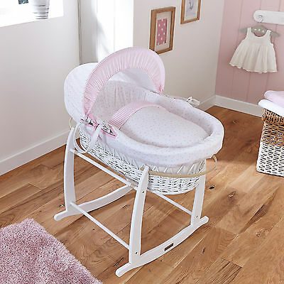 New Clair De Lune Pink Stars & Stripes Padded White Wicker Baby Moses Basket