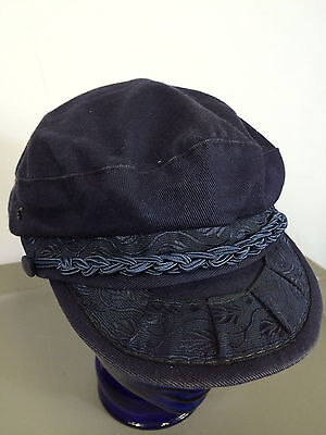 Vintage 1960s Greek Fishing Hat Cap Greece Fly Fishermans Boat Large Blue Rope