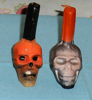 vintage Halloween GURLEY CANDLE LOT OF 2 skull black and white